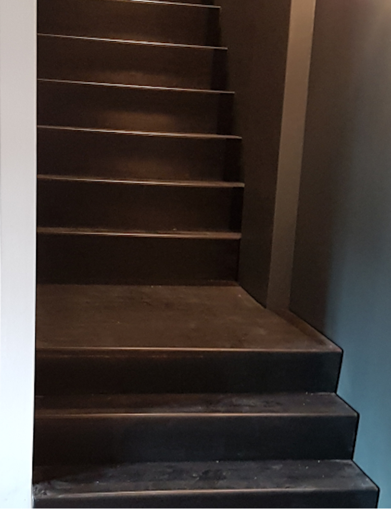 Patinated steel stairs